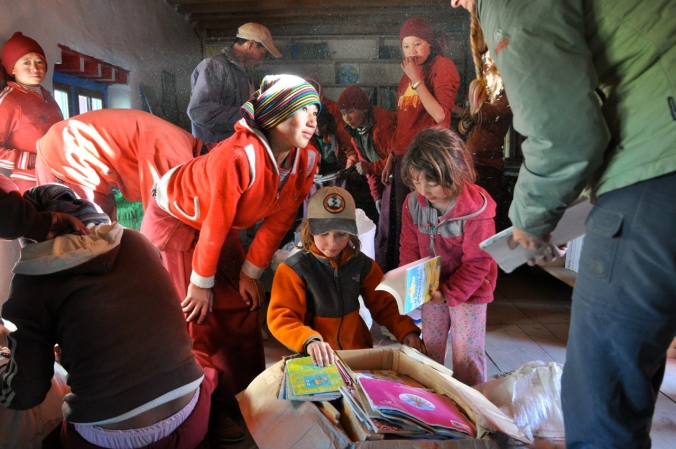 Delivering Books to the Ani School in Tsarang, Upper Mustang, Nepal